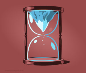 A graphic illustration of an hourglass with a mountain in it.